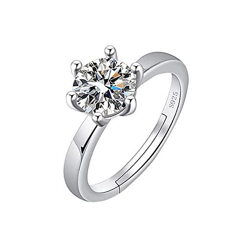 minjiSF Anillo fino de plata para mujer con diamante, temperamento brillante, hermoso anillo de compromiso, alianzas, alianzas, anillos de boda, anillos de boda, joyería clásica retro (blanco)