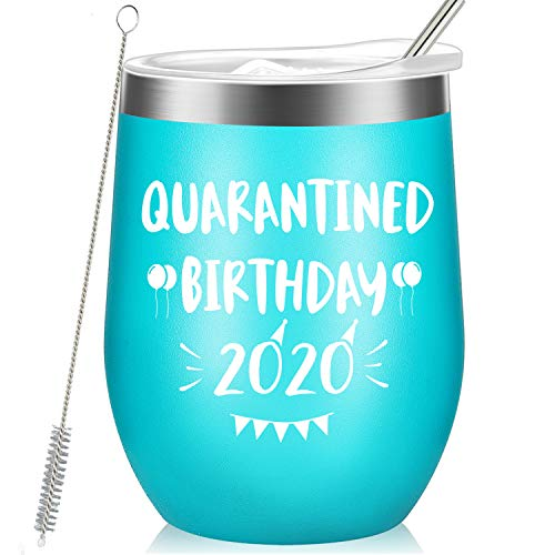 Quarantined Birthday 2020 - Funny Birthday Gifts for Women, Men, Friend, Sister, Coworker, Mom, Grandma, Daughter, Aunt - Vacuum Insulated Wine Tumbler with Keychain, Wish Card - 12oz Mint