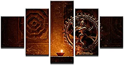 WSJXY 5 Canvas Paintings Framed Canvas Paintings Wall Art HD Prints 5 Pieces Shiva Nataraja Statue Poster India God Vintage Pictures Living Room Decor