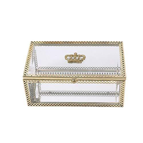 NIBABA Caja de Almacenamiento Transparente Caja de joyería Rectangular Caja de Cristal Crown Penh Joyería Caja de Almacenamiento Anillo de propuesta Accesorios de Almacenamiento de Joyas