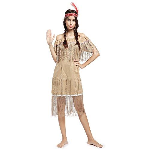 Surepromise Karneval Damen Kostuem Indianerin Sioux Squaw Wilder Westen Kostüm Halloween Indianerkostüm L