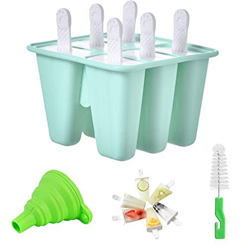 Moldes para Helados de Silicona, Reutilizable Molde para Hacer paletas para Hacer Helados Juego de Moldes para polos-6 Moldes de helado, 1 Cepillo de Limpieza, 1Plegable Embudo, libres de BPA