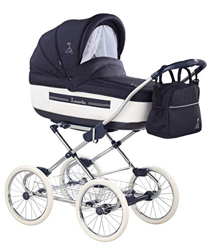 Pram Buggy Stroller Combination Car seat Classic Retro Baby Carrier ROAN Marita 19-sk navy - weißes leder 3 in 1