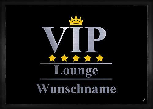 1art1 Personalisierte Fußmatte mit Namen VIP | VIP Lounge Fußmatte Innenbereich und Außenbereich | Fußmatte selbst gestalten 50 x 70 cm