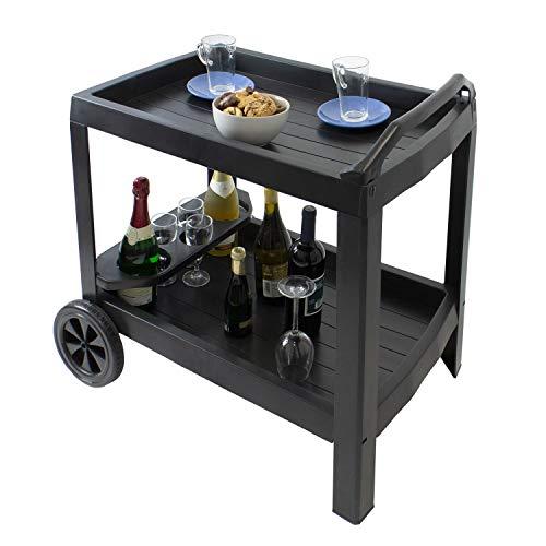 Multistore 2002 Servierwagen Astro mit 2 Rollen und Flaschenhalter Kunststoff Anthrazit rollbarer Getränkewagen Küchenwagen Gartenbeistelltisch Teewagen