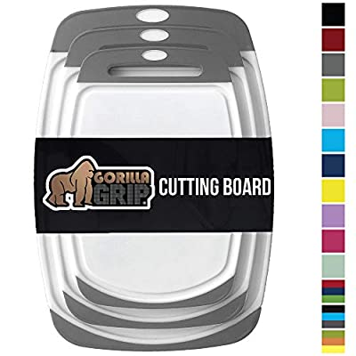 GORILLA GRIP Original Oversized Cutting Board, 3 Piece, BPA Free, Dishwasher Safe, Juice Grooves, Larger Thicker Boards, Easy Grip Handle, Non Porous, Extra Large, Kitchen, Set of 3, Gray from Hills Point Industries, LLC