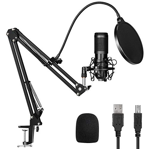USB Streaming Podcast Microphone Kit,TUOXS Professional 192KHZ/24Bit Studio Cardioid Condenser Computer PC Mic Kit with Scissor Arm Shock Mount Stand Pop Filter for Music Recording,YouTube