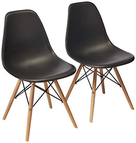 Home Make Set de 2 sillas Eames para comedor o escritorio sin brazos color neg