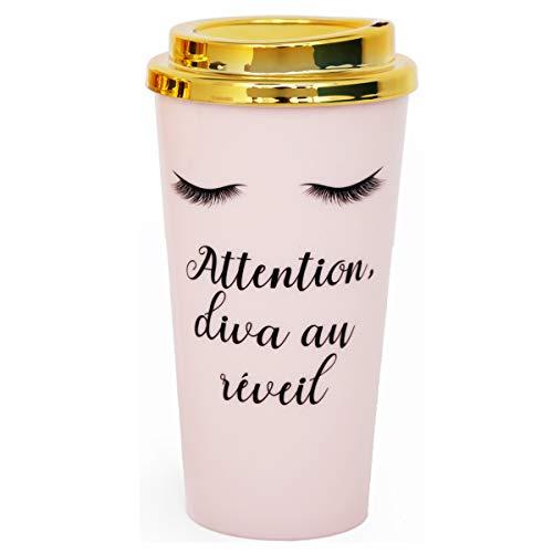 Les Trésors De Lily [R0928 - Mug de Transport Plastique 'Diva - Yeux Endormis' Rose doré (Attention, Diva au réveil) - 17.5x7 cm (350 ML)