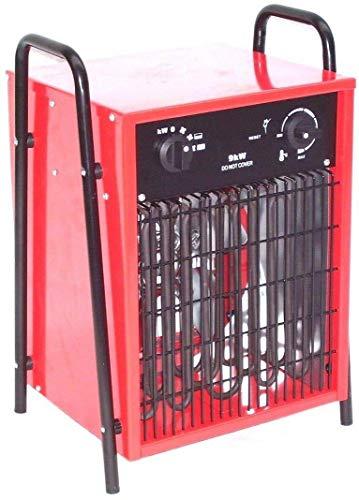 Bauheizer Baulüfter 9KW PROFI Elektroheizer 55151 Heizlüfter Heizgerät 9000 Watt Heizlüfter, Heizgerät mit AWZ integriertem Thermostat, Überhitzungsschutz sowie 2 Heizstufen und Ventilatorfunktion