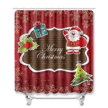 DyNamic Kerst Kerstman Waterdicht Douchegordijn Set Badmat Set Wc-Hoes - 2#