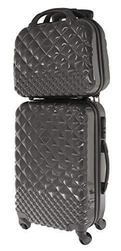 30lt suitcase set + vanity case 12lt steel grey shine