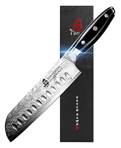 TUO Santoku Knife - Japanese Chef Knife 7-inch High Carbon Stainless Steel - Kitchen Knives with G10 Full Tang Handle - Black Hawk-S Knives Including Gift Box