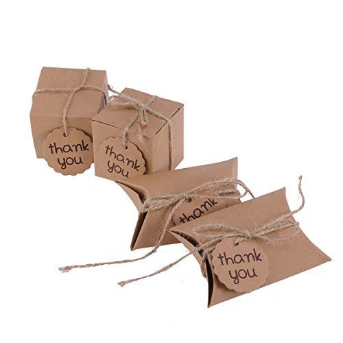 STOBOK 20 stücke Kreative Danke Karte Süßigkeitskästen Kraftpapier Verpackung Geschenk Leckereien Goodies Boxen Partei Liefert (Platz + kissenform)