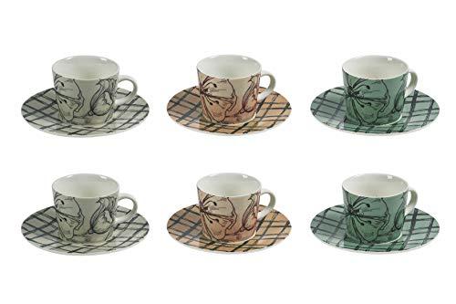 Villa d'Este Home Tivoli Etoile Set 6 tazzine caffè con piattino 90 ml in Bone China, Grès