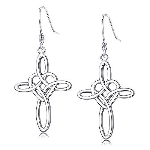 Sllaiss Pendientes de plata de ley 925 con diseño de nudo celta de amor para mujer, pendientes de gancho, joyería de cumpleaños