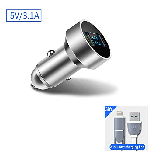 FJW Multi-Fonctionnel Mini Chargeur de Voiture 3.1A Double Port Adaptateur de Voiture USB Charge Rapide avec Surveillance de Tension LED pour Voiture 12V-24V,Silver