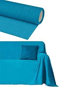 Byour3® Funda De Sofá Algodón 3 4 5 Plazas Granfoulard Tela Sofa Cubre Todo Protector De Sofás Forma de L U Chaise Longue Derecho Izquierdo Lavable (Turquesa, 1 plazas 180x275 cm)