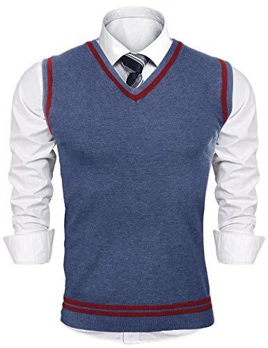 iClosam Herren Pullunder V-Ausschnitt Comfort Fit Baumwoll Strickweste (Blaugrau, XL)