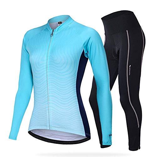MAFYU Fietsshirt voor heren met lange mouwen, voor dames en heren, thermo fietskleding, sport, MTB-pak