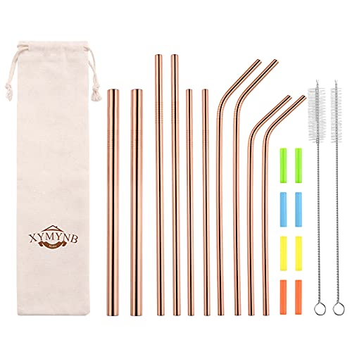 Rose Gold Stainless Steel Straws Set of 10, Reusable Metal Straws with 8 Silicone Tips and 2 Cleaner Brush, for 30oz 20oz Tumblers, Drinking Straws Dishwasher Safe (4 Straight 4 Bent 2 Boba Straws)