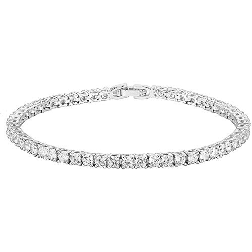 PAVOI 14K Gold Plated Cubic Zirconia Classic Tennis Bracelet | White Gold Bracelets for Women | 7.5 Inches