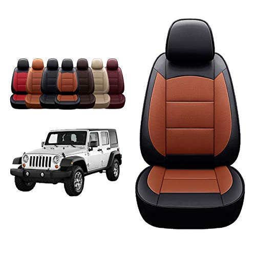 Oasis Auto 2018-2022 Wrangler JL 4 Door Custom Leather Seat Covers (W/O Rear Cup Holder, Black/Orange)…