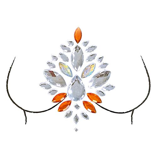 Borstdecoratie acryl kristal diamant tattoo gezicht edelstenen lijm glitter juweel tattoo sticker voor muziek festival, make-up partij 1 * chest tattoo drill xbs-27
