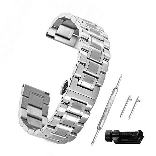 Beauty7 20mm Silber Edelstahl Uhrenarmband mit Faltschließe Metall Uhr Armband Gerade Anstoß Ersatzuhrband mit Verkürzungswerkzeug Link Entferner + 4 STK Federstege und Federstift