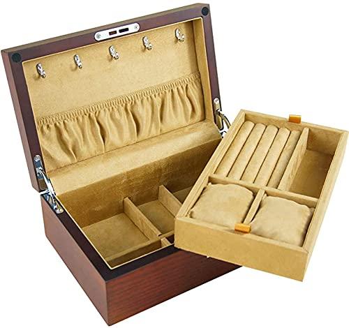 WHXL Caja de joyería de doble capa, anillo de madera simple, collar y caja de almacenamiento de pulsera con cerradura