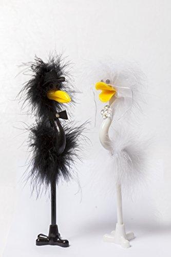 Top Toys 4U - Juego de bolígrafos para libro de firmas de boda (diseño de emú y avestruz vestidos de novio y novia)