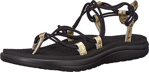 Teva Women's W VOYA Infinity Metallic Sandal, Black/Gold, 05 M US