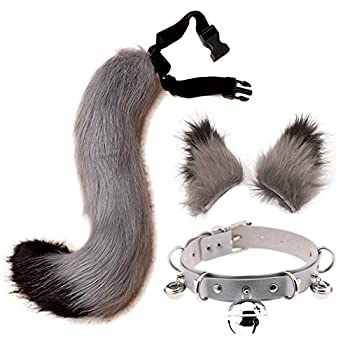 Cat Ears and Tail Set Adult Wolf Fox Ears Tail Kit Faux Fur Tail for Kids Neck Choker Halloween Party Grey