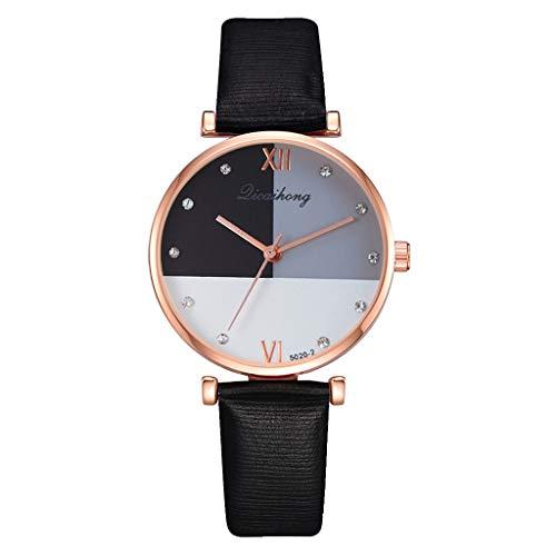 TWISFER Damenuhren Analog Quartz Dreifarbige Nähte Zifferblatt mit Leder Armband Einfache Mode Kreative Uhren Lederarmband Damenarmbanduhr