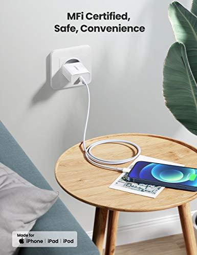 UGREEN USB C auf Lightning Ladekabel MFi Lightning Kabel Typ C Power Delivery kompatibel mit iPhone 12 Mini, SE, iPhone 11 Pro Max, XR, XS Max, X, 8, 8 Plus, iPad 2020, AirPods Pro usw. (Weiß,1M)