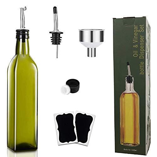 TOCYORIC [500 ml] Botellas de aceite de oliva de cristal oscuro, aceiteras/vinagreras con tapones dosificadores sin goteo, embudo, y cepillo de limpieza, Botella dispensadora de aceite de oliva set
