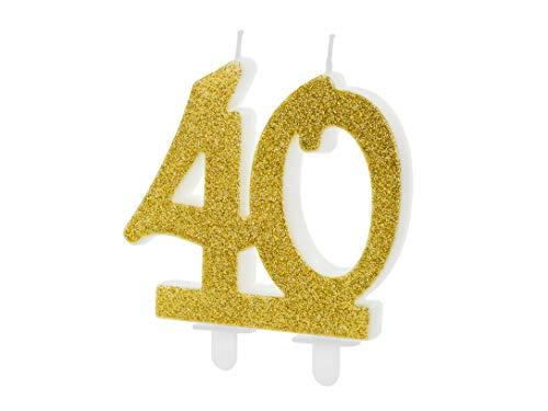 Candeline numerali Glitterate per Compleanno Vari Numeri (40 Anni (codice SCU5-40-019))