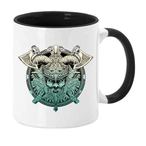 Taza de café con diseño de Vikings y Highlander, altura: aprox. 9,7 cm, diámetro: aprox. 8,2 cm, material: cerámica. Capacidad: 300 ml, en caja de regalo (negro, Thor con 2 hachas)