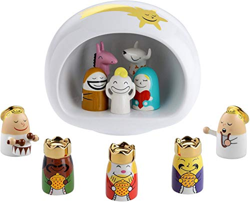 Alessi AMGI10SET Set de Pesebre de Diseño con Reproducción de la Cueva y Figuras de Porcelana Decoradas a Mano, 10 Piezas