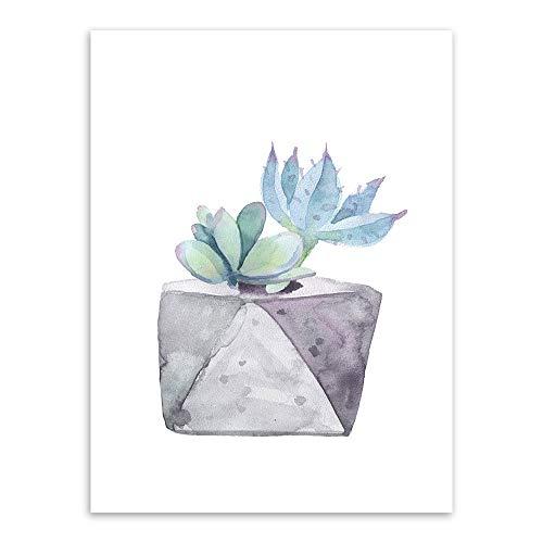 Leinwanddruck Wand Kunst, Aquarell Grüne Pflanze Blumen Kaktus Poster Saftige C4 Druck Auf Leinwand Im Nordischen Stil Garten Wand Kunst Bilder Für Wohnkultur Gemälde, 8 X 12 Zoll (20 Cmx 30 Cm).