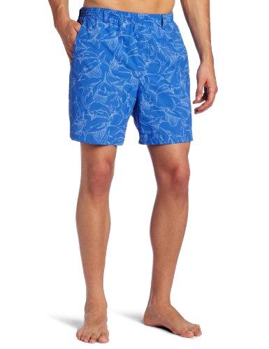 Columbia Pantalón Corto Estampado para Hombre, Talla XL, Azul Vivo, con garabatos Billfish