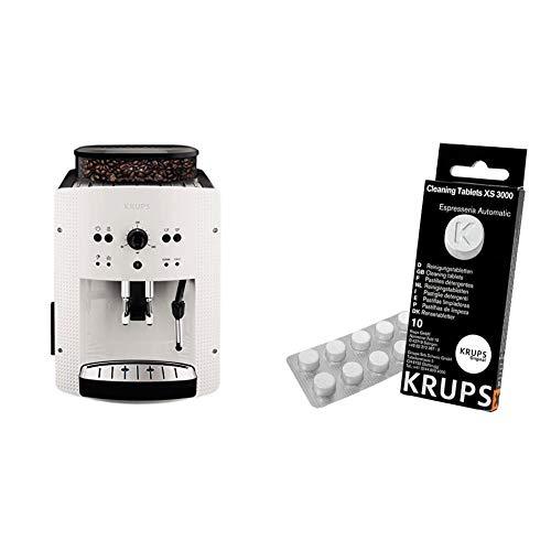 Krups EA810570 Cafetera automática 15 bares de presión, 1450 V, 1.6 L, acero inoxidable + Espresseria Automatic Pastillas limpiadoras para maquinas de café, Blanco
