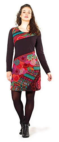 Coline Dynamisches und farbenfrohes Kleid für den Winter (Schwarz, L)