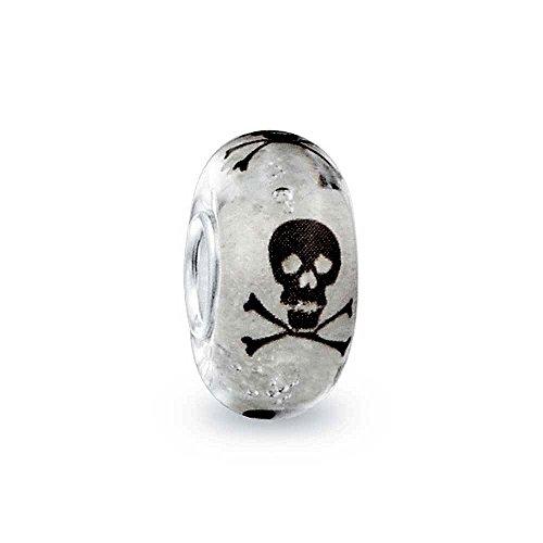 Schwarz Weiß Totenkopf Kreuzen Knochen Aus Muranoglas Silber Bead Charm Passend Für Europäische Charm Armbänd Für Frauen