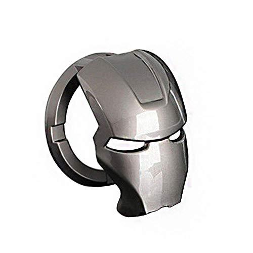 LSGGTIM Etiqueta engomada de la Cubierta de protección del botón de Inicio de una tecla del Coche Interruptor del Dispositivo de Encendido Etiqueta de decoración de Metal Iron Man (Plata)