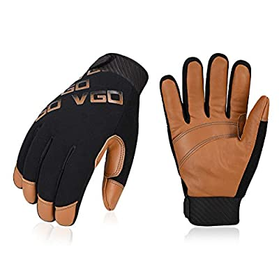 Vgo 3Pairs -4? or above 3M Thinsulate C100 Winter Warm Waterproof Light Duty Mechanic Glove,High Dexterity,Anti-abrasion,Rigger Glove(Brown,GA9603)