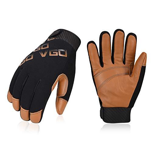Vgo -20℃or -20℃に 防水防寒手袋 作業用革手袋 羊革 3D立体 羊革 柔軟 耐摩耗 Light Duty メカニックグローブ(1双入,Size L,Brown,GA9603FW)