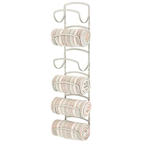 mDesign Steel Wall Mount Towel Storage Rack for...