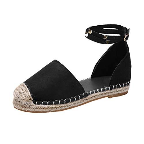 Damen Espadrille-Sandalen mit Knöchelriemen & Nieten, römische Rivet Knöchel Schnalle Flache Ferse Stroh Schuhe
