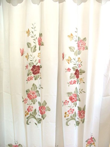 Classy and elegant pink and red flowers on white floral shower curtain